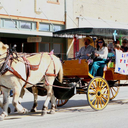 2015 Yorktown Western Days CDA Parade Float: Theme: Life's trail to the cross. CDA Members and their families enjoyed the ride furnished by Hugh and Jenny H. with their horses, Tom and Jerry.